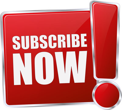 modern red subscribe now 3D vector icon