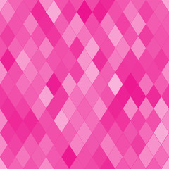 Vector seamless pattern with rhombs. Abstract bright pink texture. Geometrical background. Monochrome backdrop.