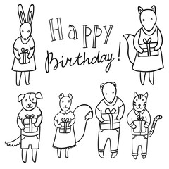 Adorable animals with presents. Birthday party vector set.