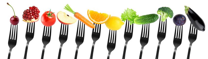 Keuken foto achterwand Verse groenten fruits and vegetables on fork