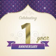 1 year anniversary celebration golden style. Modern design. Vector illustration