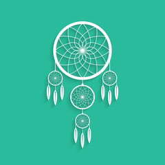 white dream catcher with shadow