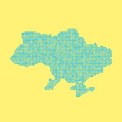 blue ukrainian map from dots