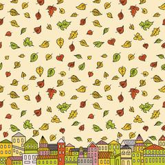 Illustration with autumn city