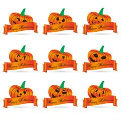 orange halloween carved pumpkins with banners set eps10