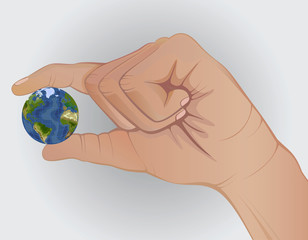 concept. Earth in hand. Keep fingers. enviroment protection .fragile small. nature.