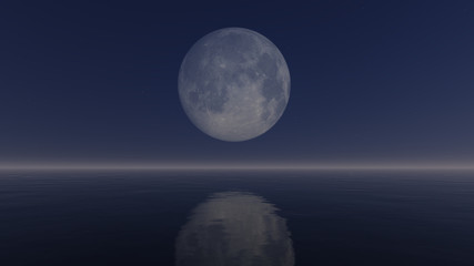 Cloudless night sky with a big full moon above mirror water surface