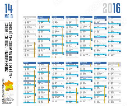 Calendrier 2016 sur 14 mois cong s lunes n semaine - Calendrier des lunes 2016 ...