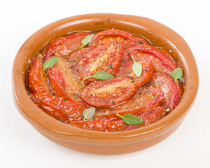 Tomates al Ajillo (Tomatoes with garlic). Traditional Spanish tapas dish!