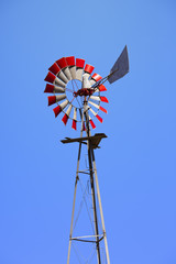 Windmill With Red Blades