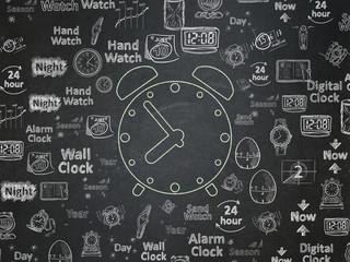 Timeline concept: Alarm Clock on School Board background