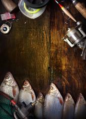 Spoed Fotobehang Vissen art sports fishing report background