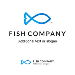 Beautiful Stylish Contour Logo Icon for Fish Company or Seafood Restaurant or Shop