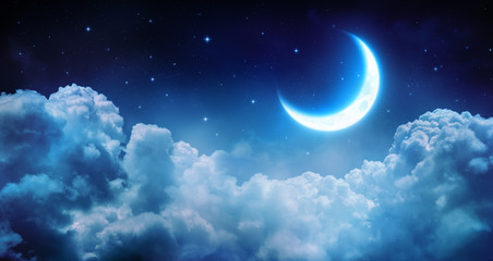 Deurstickers Nacht Romantic Moon In Starry Night Over Clouds
