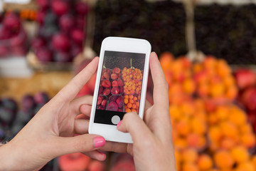 hands with smartphone taking picture of fruits