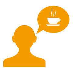 Icono usuario con comentario taza cafe naranja