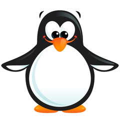 Happy cute cartoon smiling black white penguin with orange beak