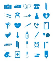 Blue medical icons.