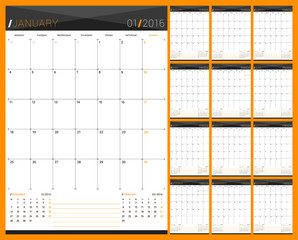 Monthly Calendar Planner for 2016 Year. Set of 12 Months. Week Starts Monday. Vector Design Print Template.