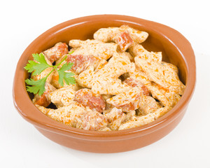 Chicken & Chorizo - Chicken and chorizo cooked in a paprika cream sauce.