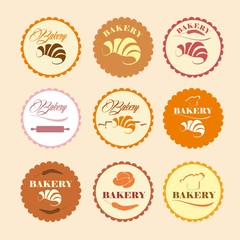 Color Set of vintage retro bakery logos, labels, badges, design elements.