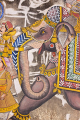 Detail from a wall painting in a street in Udaipur