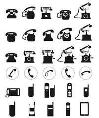 Different Vector black telephone icons set on white background.