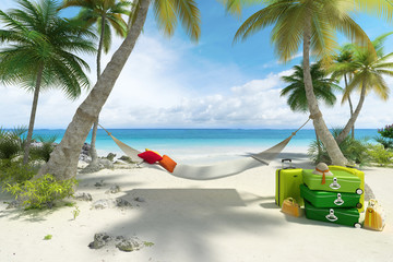 Beach, hammock and luggage