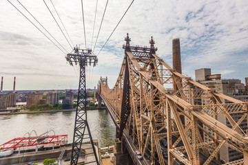 Roosevelt island and Ed Koch Queensboro bridge view from tramway