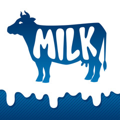 Cow silhouette emblem design on drips of milk background