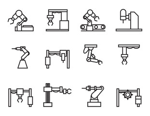 robot industry icons set