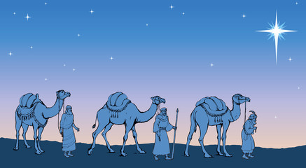 Three Wise kings following the Star of Bethlehem. Vector illustr
