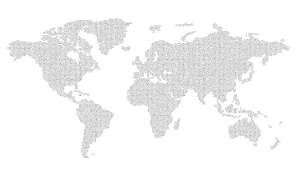 Vector map of the world of letters