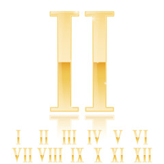 Roman numerals set. Golden numerals. Gold glossy Two 2 .
