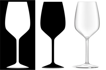 Empty wine glass. Black and white.
