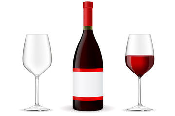 Red wine with glass and blank label.