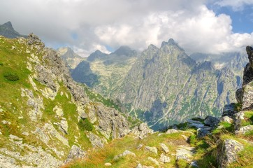 Summer mountain landscape. Picturesque view in Slovak Tatra Mountains in summer season.