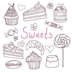 Set of various doodles, hand drawn sweets and candies sketches.