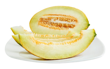 Sliced melon in a white plate
