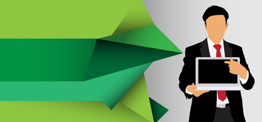 Businessman with laptop. Vector