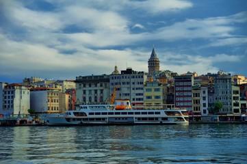 Golden Horn, Karakoy Port, Galata Bridge and Galata Tower in Istanbul, Turkey