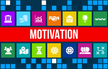 Motivation concept image with business icons and copyspace.