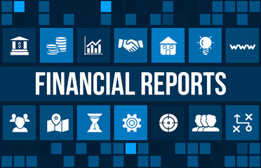 Financial report concept image with business icons and copyspace.