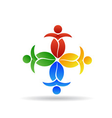 Logo teamwork nature leafs people
