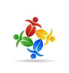 Logo teamwork nature leafs people