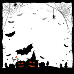 Festive illustration for Halloween. Black and white frame