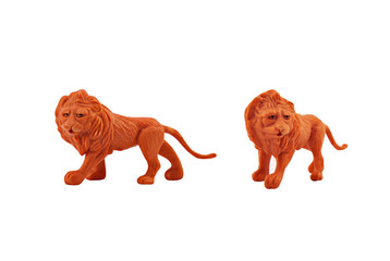 Isolated lion toy. Isolated lion toy side and angle view.