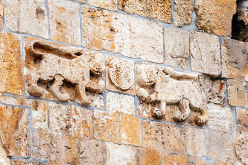 Lions at Wall above Jerusalem Gate, Israel