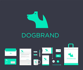 Vector artistic corporate identity template with dog logo and