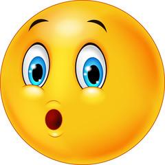 Surprised emoticon face cartoon
